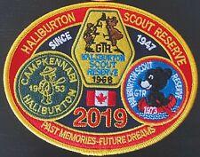 """Haliburton Scout Reserve crest badge patch (2019: 5"""" Navy blue) Scouts Canada"""