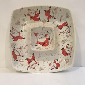 Vtg Santa Ullman Serving Tray Christmas Dancing Santa Chip Dip Bowl Snack Retro
