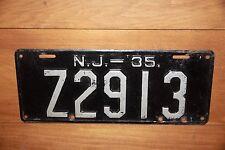 1935 NEW JERSEY License Plate  *** '35  *** Heavy Duty Beast