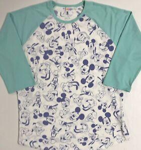 Lularoe DISNEY Randy Raglan Top Aqua Sleeves Mickey Goofy Donald Pluto RARE NWT