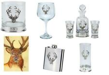 Pewterware base Stag's Head glass, tumbler, gin bowl, decanter, hip flask, card