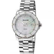 Ladies Accurist LB1781 Stainless Steel Ceramic White Bezel Sports Watch £139.99