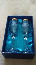 DUISKE IRISH GLASSWARE PAIR OF ETCHED AND GILDED WEDDING CHAMPAGNE FLUTES - NEEW