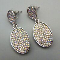 Betsey Johnson AB Crystal Rhinestone Oval  Pierced Stud Earrings