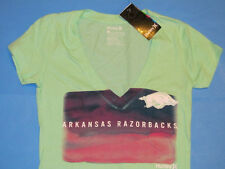 NWT Hurley ARKANSAS RAZORBACKS Deep V-Neck T-Shirt  Women Sz S Mint Green