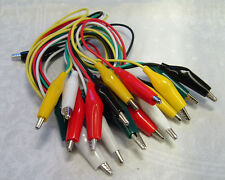10 Crocodile Leads Clip 360mm 5 Colours