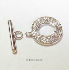 1 Sterling Silver 925 Crystal CZ Bead Toggle clasp 15mm