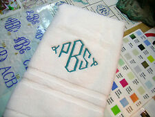 2 MONOGRAMMED WHITE HAND TOWELS / FROM WELLSPUN.USA / 100%COTTON