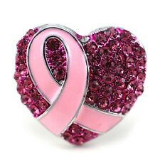 Fuchsia Pink Ribbon Breast Cancer Awareness Cocktail Ring Stretch Adjustable q1