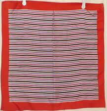 TERRIART Red, Lavender, Black, White Stripes Square Scarf-Vintage