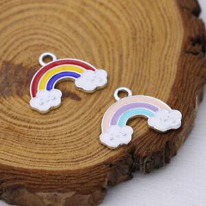 10Pcs Enamel Rainbow Charm Pendant Jewelry Making Necklace DIY Accessories