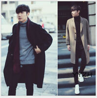 Mens Winter Casual Double Sided Cashmere Wool Coat Trench Wool Blend Coat Jacket
