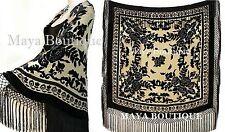 Silk Piano Shawl Wrap Scarf Burnout Velvet Beige & Black Maya Matazaro