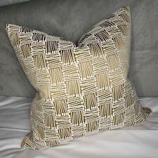 "Cushion Cover 18"" Designer Fabric Gold Decor Embroidered Geometric Design"