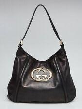 GUCCI Britt Black Leather Hobo Bag