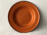 Vintage Enamelware Orange Plate Shallow Bowl Black Trim