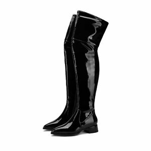 Womens Low Cuban Heel Shoes Black Patent Leather Pointed Toe Over the Knee Boots