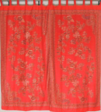"""Red Floral Jamawar Indian Curtains - 2 Elegant Woven Ethnic Window Panels 84"""""""