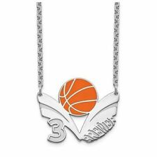 SS Epoxied Basketball Necklace with Name and Number
