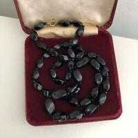 Vintage Black Glass Necklace Beads 1930s Art Deco Style