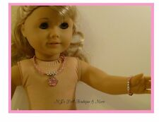 Pink Rose Necklace & Bracelet Set fits American Girl Doll