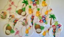 PRE CUT Tropical Summer Party Cupcake Cake Wafer Paper Toppers x 24