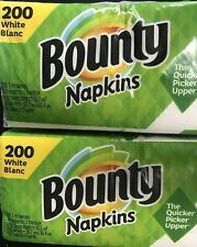 Lot of (2 Packages) of 200 = 400 Bounty White Paper Napkins Eba