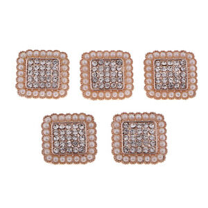 5x Square Crystal Shank Buttons Rhinestone Pearl DIY Costume Sewing Crafts