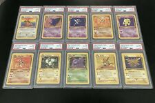 1999 Pokémon Fossil Dragonite Gengar Zapdos Rare 1st Edition PSA 10 Set Lot 10