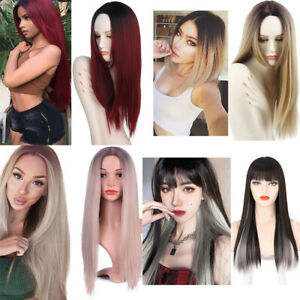 """24"""" Women Real Long Straight Wigs Cosplay Costume Hair Party Full Colored Wigs"""