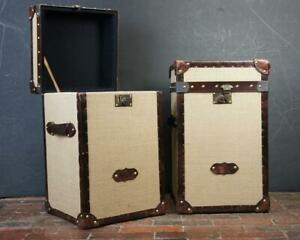 Matching Pair Of Hessian And Bridle Leather Night Stands Trunks