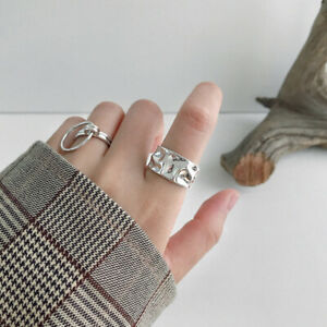 Irregular Smooth Opening Ring Geometric Concave Convex Ring M LTkj