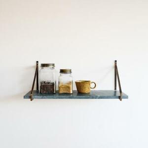Green Myna Marble Shelf, Wall Mounted Brackets, Storage Kitchen Bedroom Living