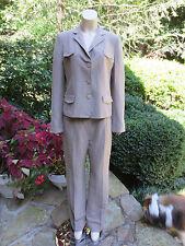APOSTROPHE Beige Silk Linen Jacket Blazer & Pant Suit Sz 8 10 MINT COND