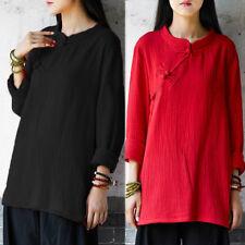 ZANZEA 8-24 Women Long Sleeve Shirt Pullover Tunic Peasant Blouse Plus Size Top