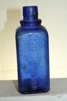 Vintage Original John Wyeth & Bro Cobalt Blue Medicine Bottle W/O Lid