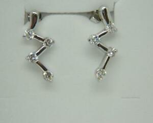 Sterling Silver 925 Rhodium Plated Cubic Zirconia Zig Zag  Fixed Drop earrings