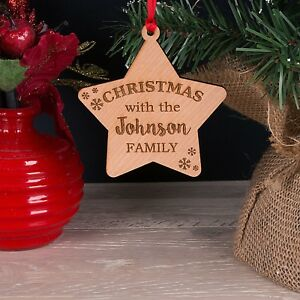 Personalised Wooden Family Christmas Tree Decoration Star Bauble Gift