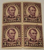 Scott#: 584 - Abraham Lincoln Block Of 4 Mint NH OG Scott Value $250.00
