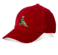 Polo Ralph Lauren Boy's Polo Bear Corduroy Christmas Hat Red 2 2T NWT