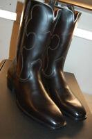 NU FRYE Mens Miles Vintage Stitch Pull On $458 Western Boots 13 M Handmade black