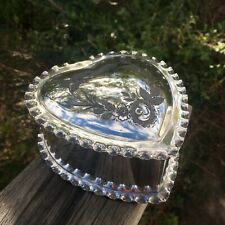 Vintage Silver Plated James Dixon & Sons Trinket Jewellery Box Heart Shaped Love