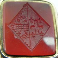 Antique Gold Cased Wax Seal Fob, Carved Carnelian Armorial Crest.
