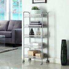 AUGIENB 4/5-Tier Kitchen trolley Storage Basket Stand Car Home + Wheels 4
