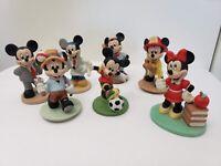 "Vintage Disney Minnie & Mickey Mouse Porcelain 4"" Figurines Lot (Rare!)"
