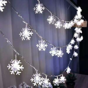 Snowflake Shaped LED Christmas String Light Garland Indoor Outdoor Decoration