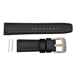 Luminox 5241 5240 SXC GMT 24mm Leather Black Watch Band Strap Gray Stitches