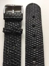 Vintage Genuine Black Lizard Open Ended 18mm Wristwatch Strap-NOS