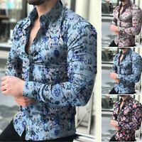 Flower Shirt Men Button Down Blouse Floal Long Sleeve Tops Plus Size Casual Tee