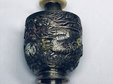 19th Chinese Qing Silver Enamel Dragon Snuff Bottle